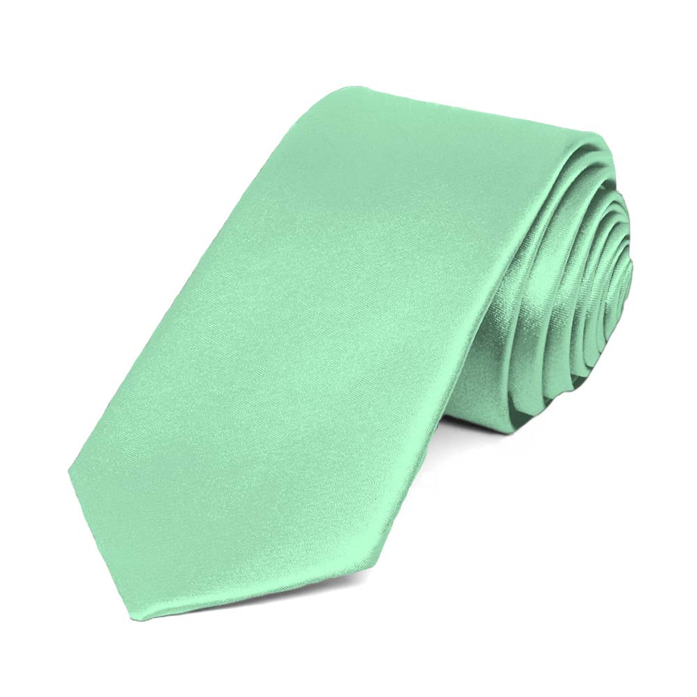 Seafoam Slim Solid Color Necktie, 2.5
