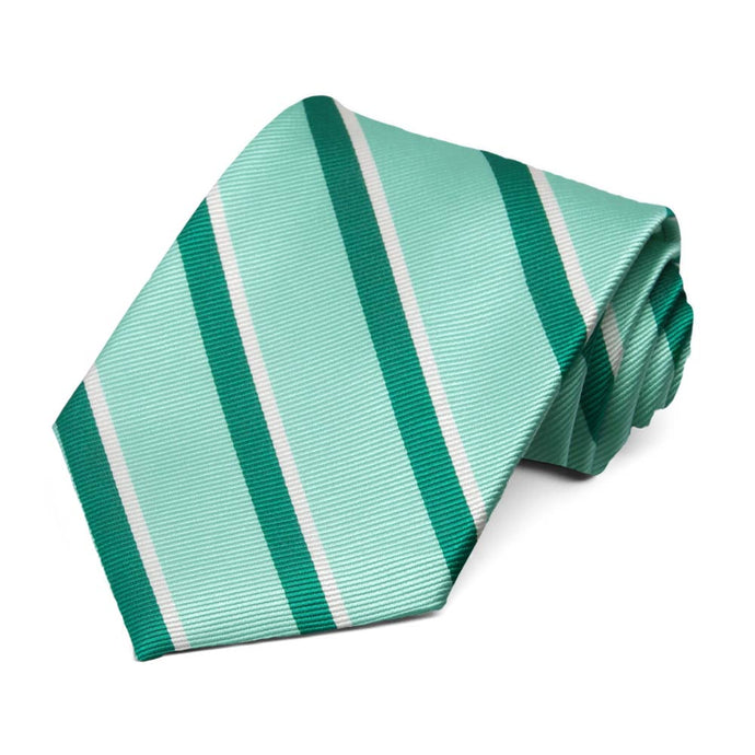Spearmint and Jade Artist Stripe Silk Necktie