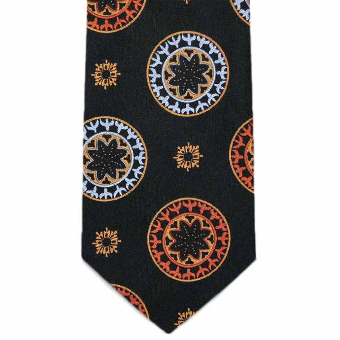 Black and Orange Lancelot Medallion Necktie