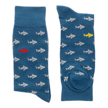 Load image into Gallery viewer, Men's blue socks with shark pattern