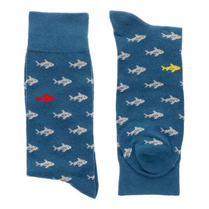 Men's blue socks with shark pattern