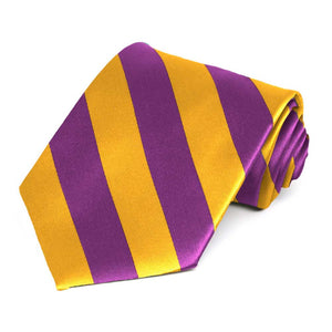 Shocking Violet and Golden Yellow Striped Tie