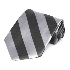 Silver and Dark Gray Striped Tie