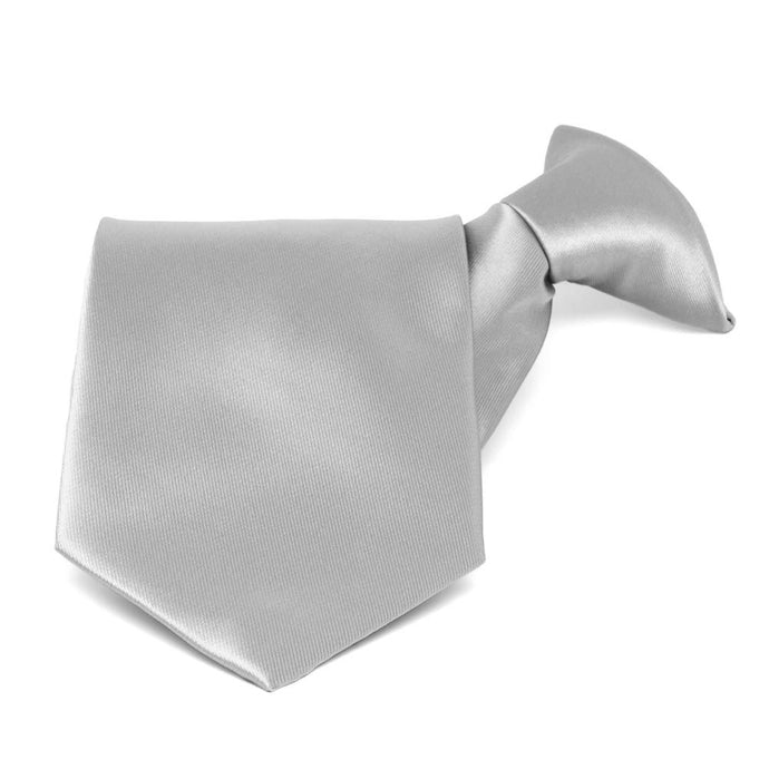 Silver Solid Color Clip-On Tie