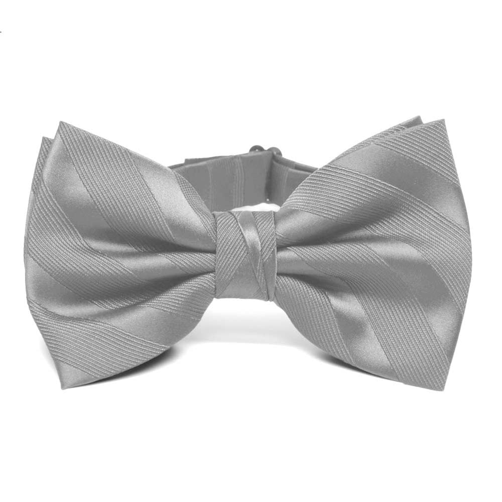 Silver Elite Striped Bow Tie