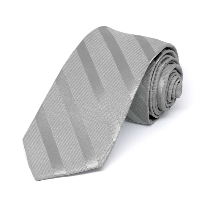 Silver Elite Striped Slim Necktie, 2.5