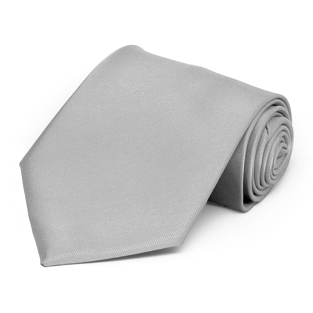 Silver Extra Long Solid Color Necktie