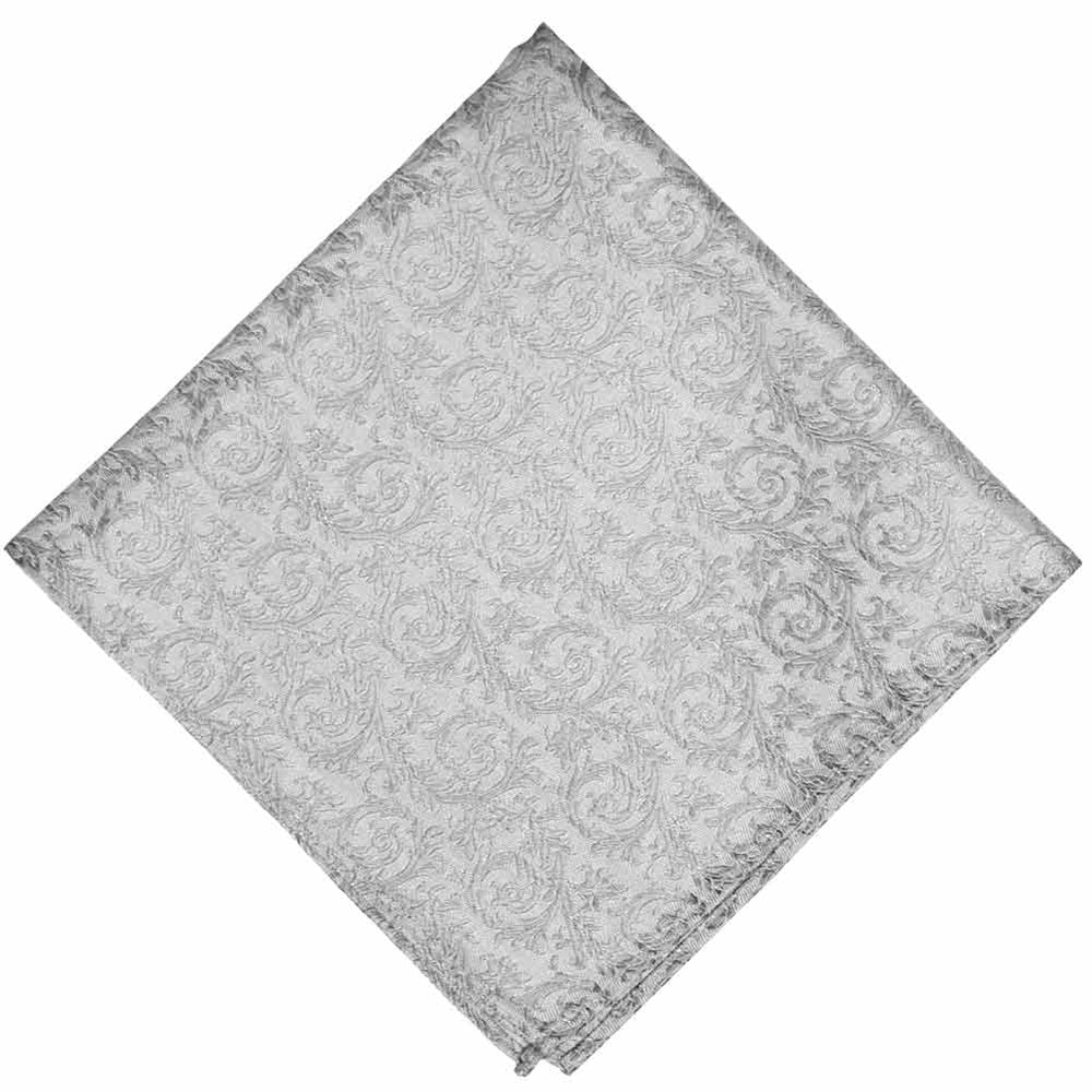 Light silver tone on tone floral pocket square