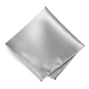 Silver Solid Color Pocket Square