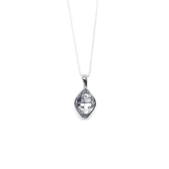 Silver Rhombus Shaped Crystal Necklace