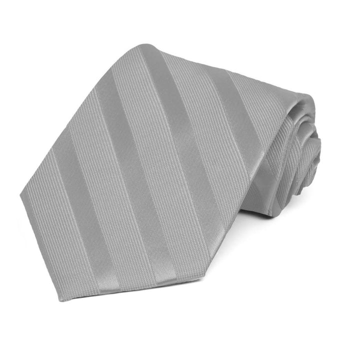 Silver Elite Striped Necktie