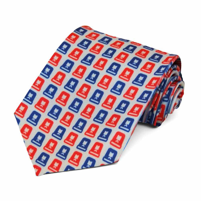 Red and blue siren design on a gray tie