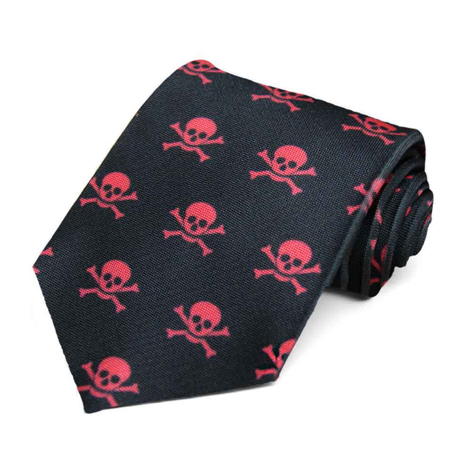 Red skull and crossbones on a black tie.