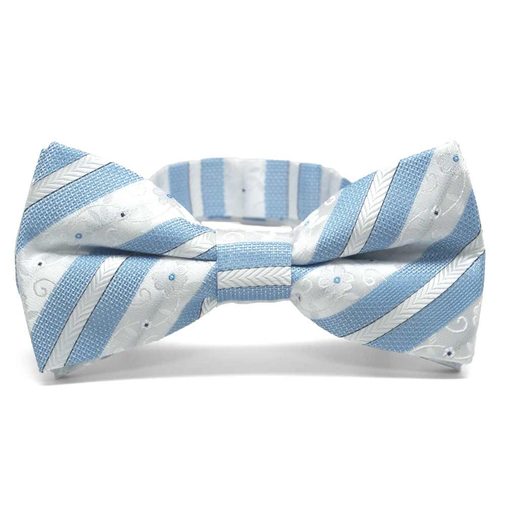 Sky Blue Anna Floral Stripe Band Collar Bow Tie