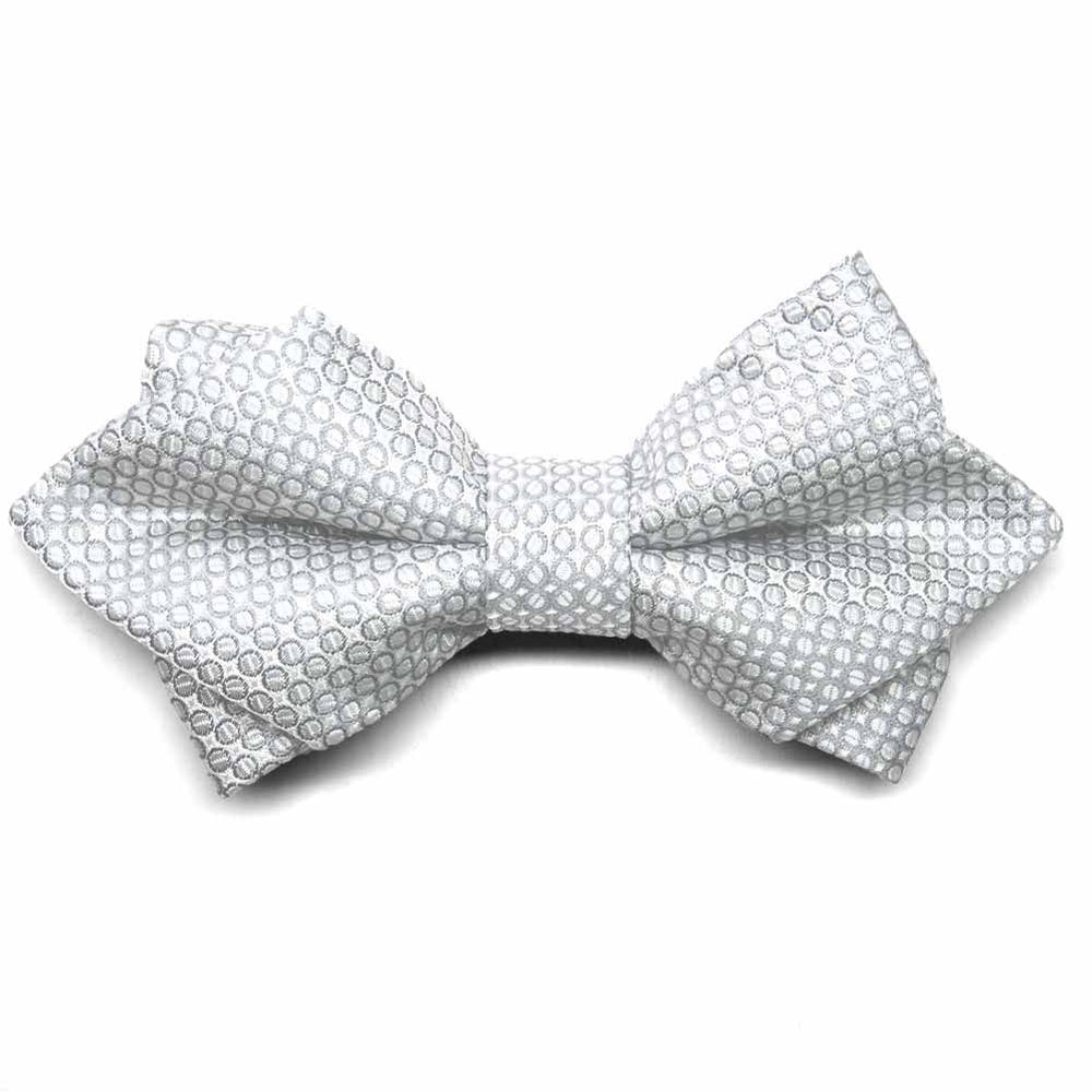 Soft Gray Henry Grain Pattern Diamond Tip Bow Tie