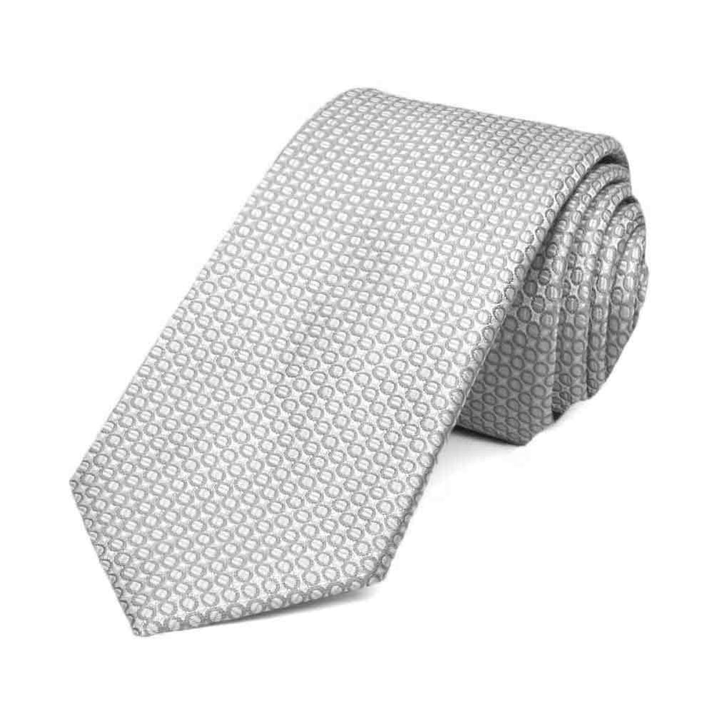 Soft Gray Henry Grain Pattern Slim Necktie, 2.5