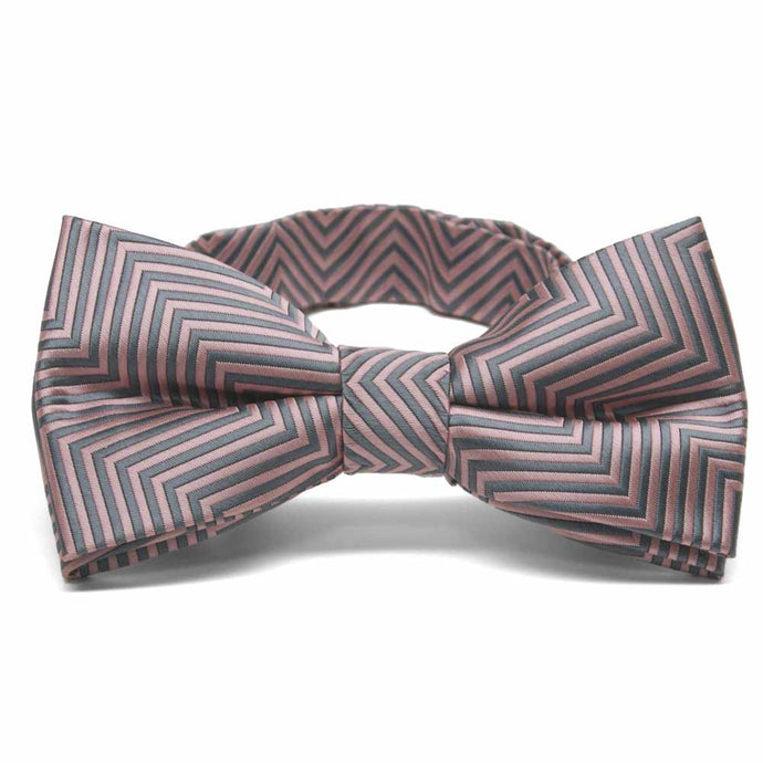 Soft Pink Kimberly Chevron Stripe Band Collar Bow Tie