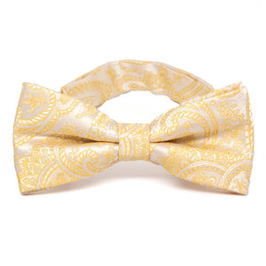 Soft Yellow Clara Paisley Band Collar Bow Tie