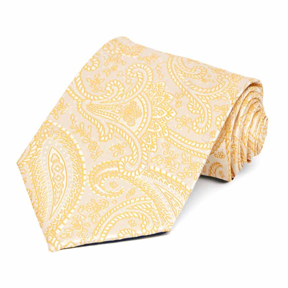 Soft Yellow Clara Paisley Necktie
