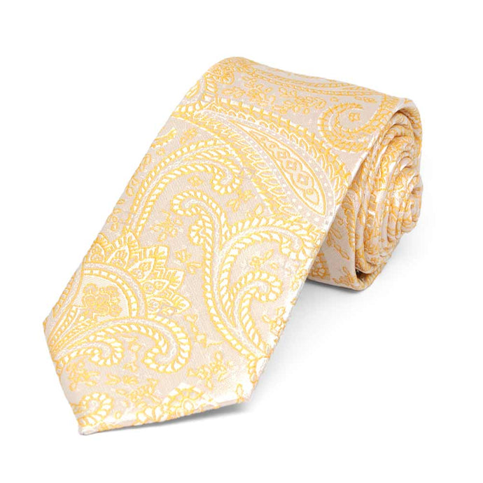 Soft Yellow Clara Paisley Slim Necktie, 2.5