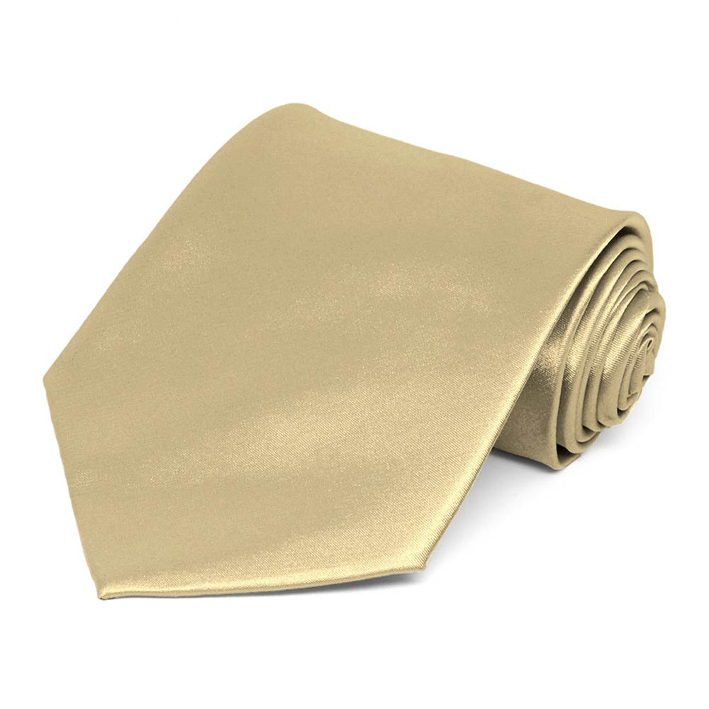 Sparkling Champagne Extra Long Solid Color Necktie