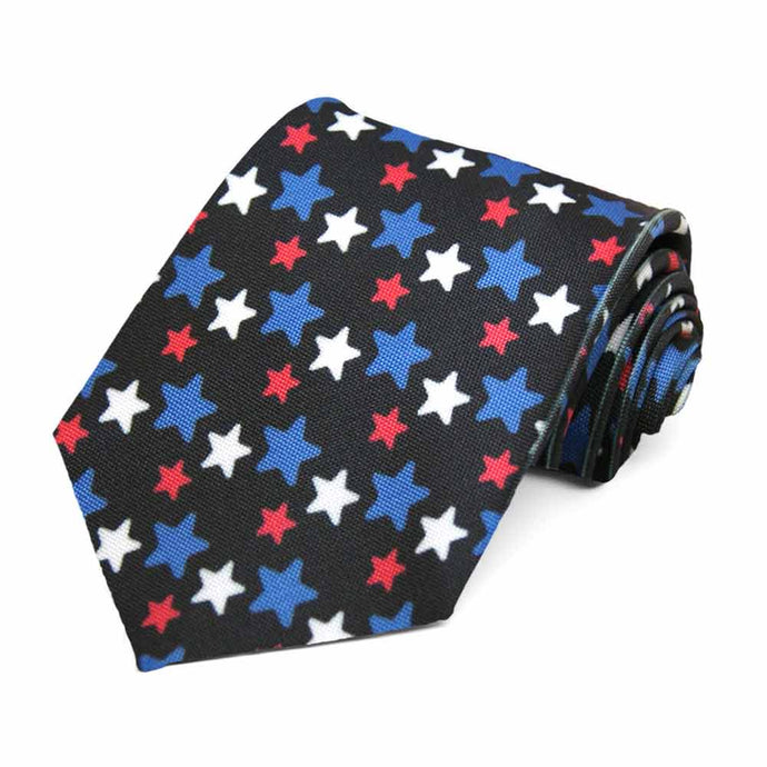Red, white and blue stars on a black tie.