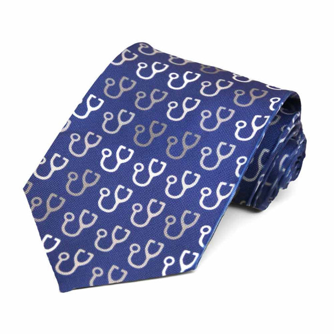 Stethoscopes in white and gray on a dark blue tie