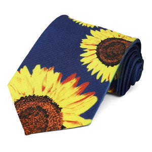 Dark blue necktie with large sunflowers on it