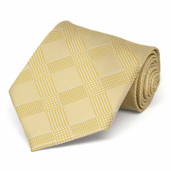Sunflower Yellow Michael Glen Plaid Extra Long Necktie