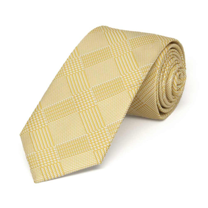 Sunflower Yellow Michael Glen Plaid Slim Necktie, 2.5