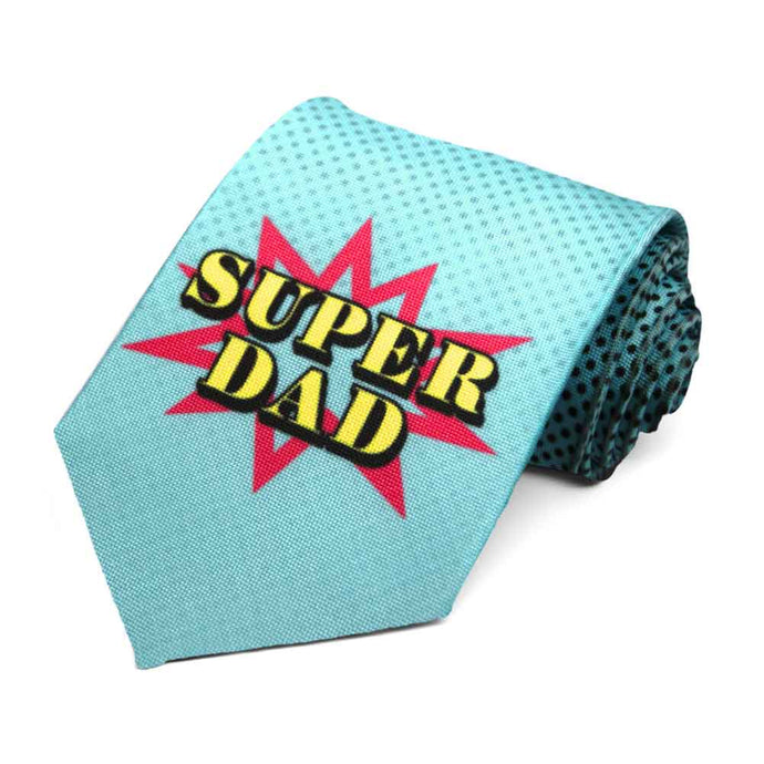 Comic book style super dad tie in a light blue color.