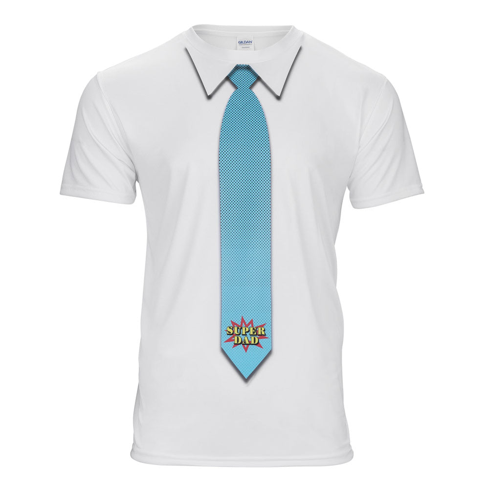 White t-shirt with super dad tie printed