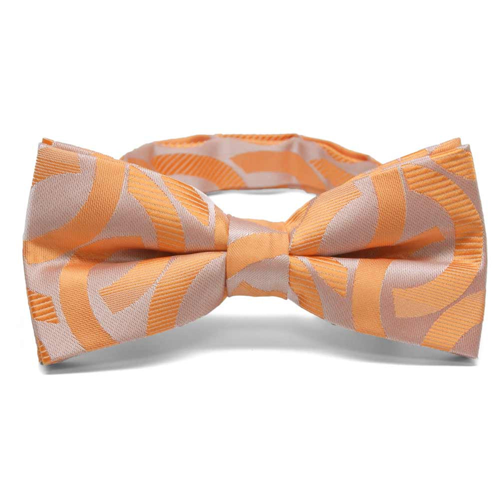 Bright Tangerine Kay Link Pattern Band Collar Bow Tie