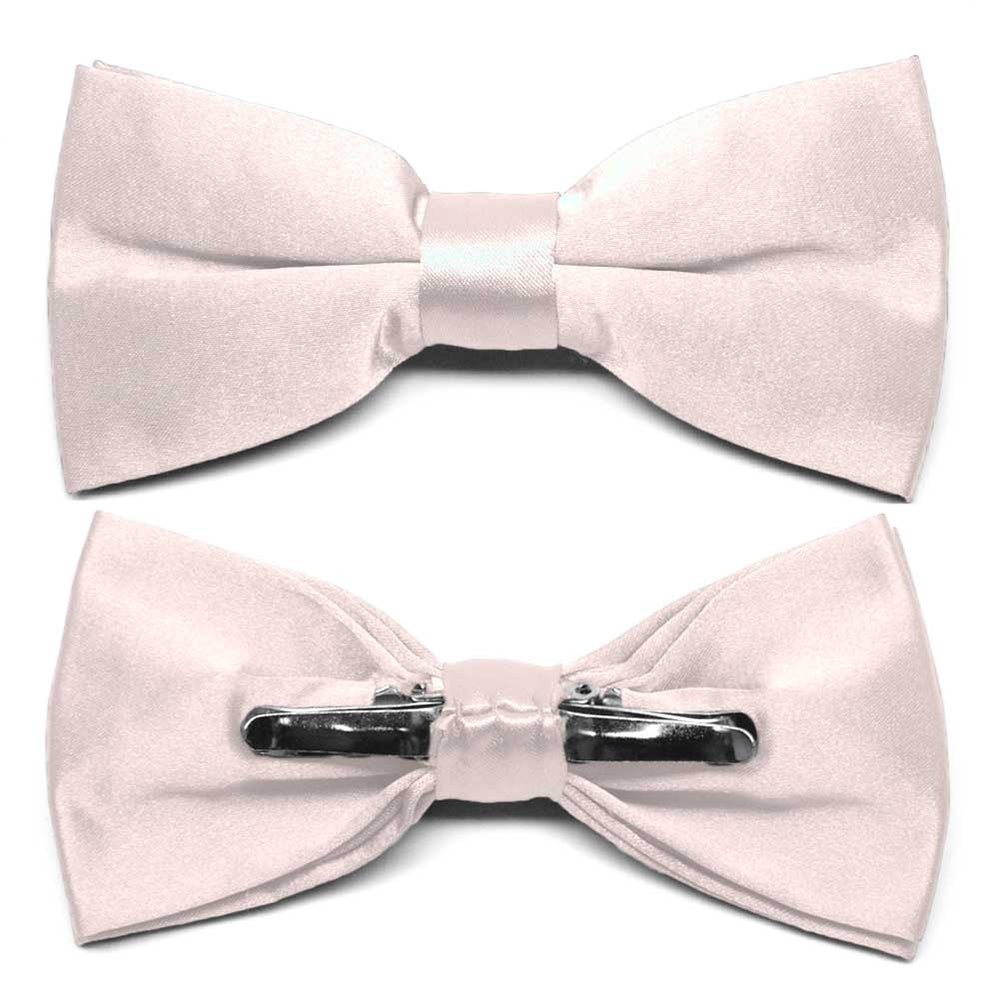 Tea Rose Pink Clip-On Bow Tie