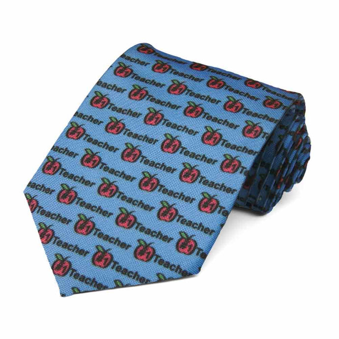 #1 teacher text with an apple on a blue tie.