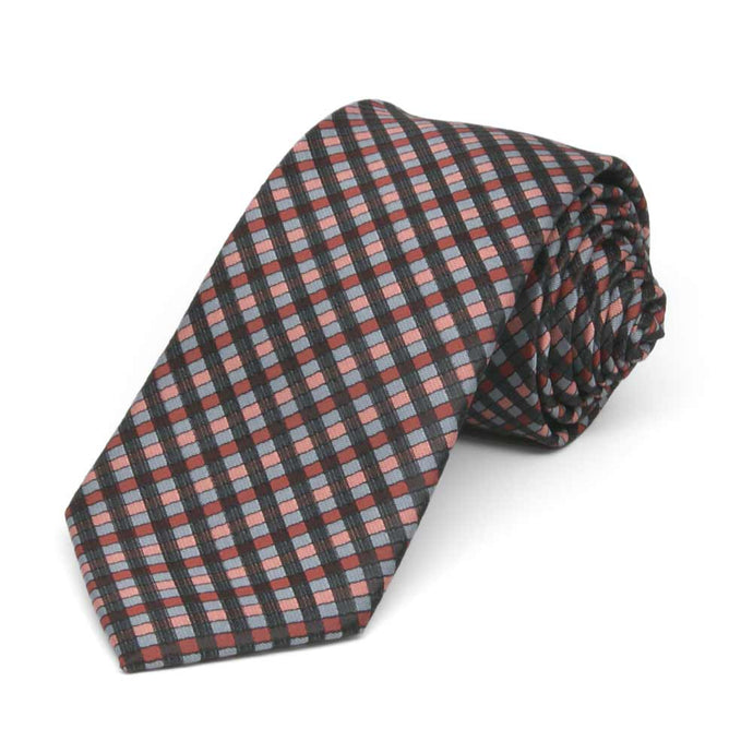 Terracotta George Plaid Slim Necktie, 2.5