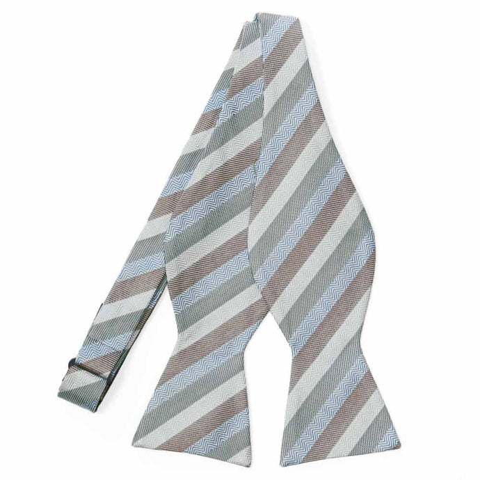 Gray and Brown Instructor Stripe Cotton/Silk Self-Tie Bow Tie