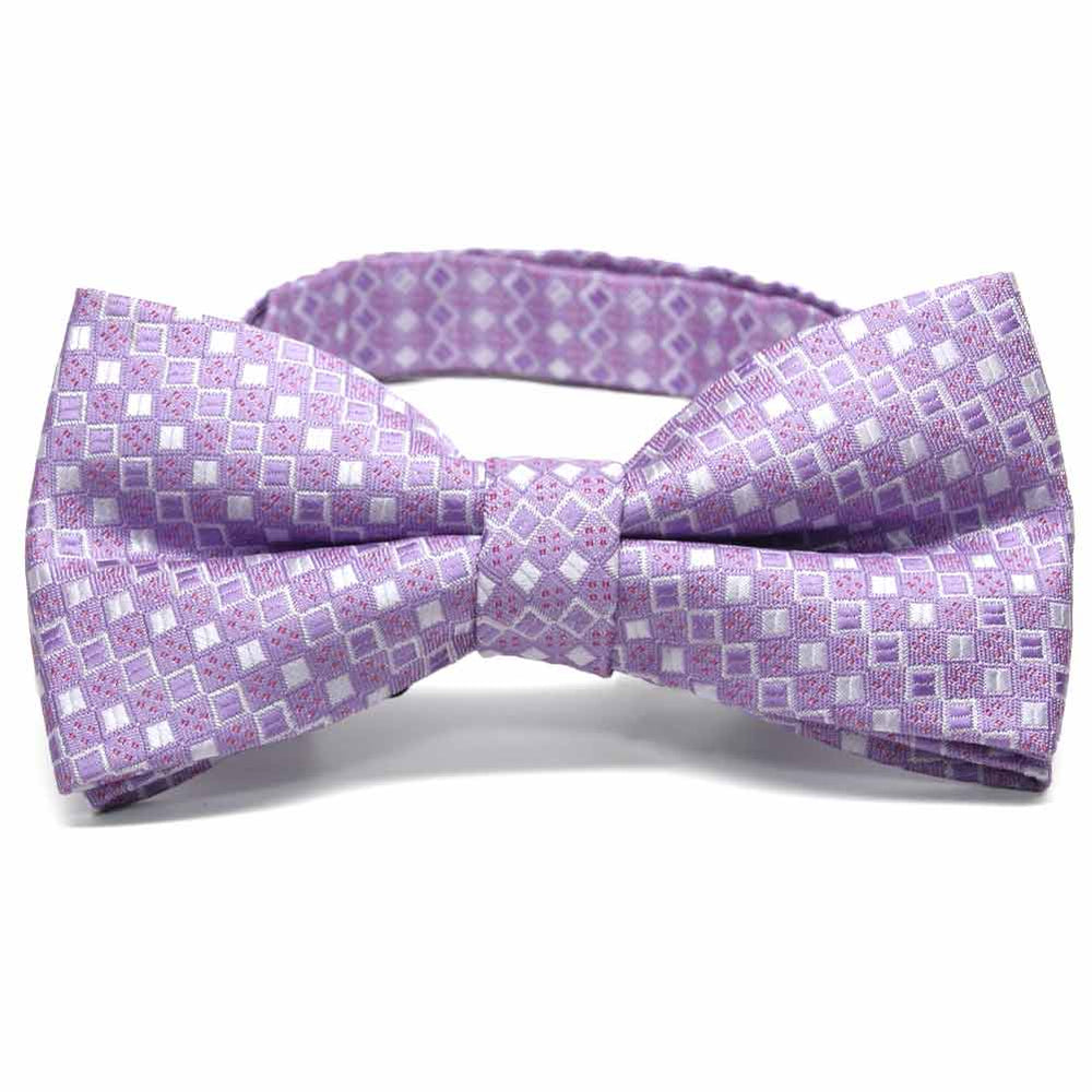 Thistle Purple Marie Square Pattern Band Collar Bow Tie