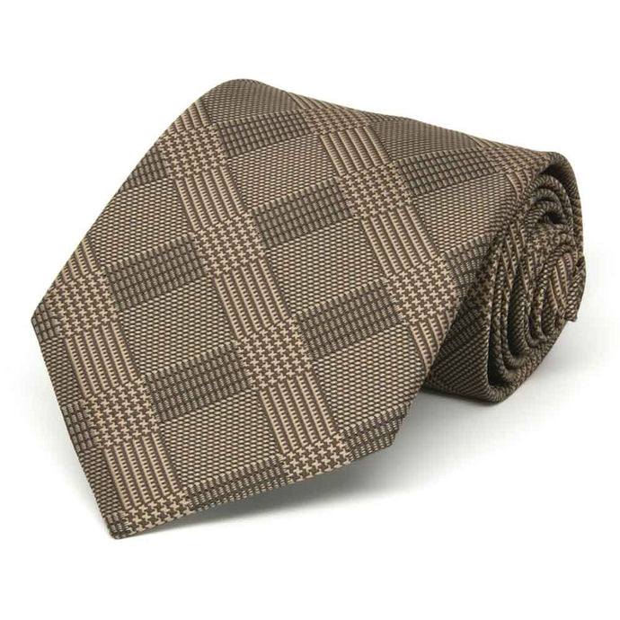 Toffee Brown Michael Glen Plaid Extra Long Necktie