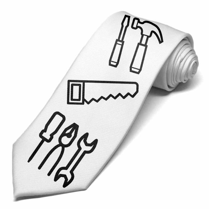 Tools icons to color on a white tie.