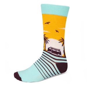 Men's tropical sunset themed crew socks vw van palm trees and birds