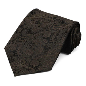Truffle Brown Beaufort Paisley Extra Long Necktie