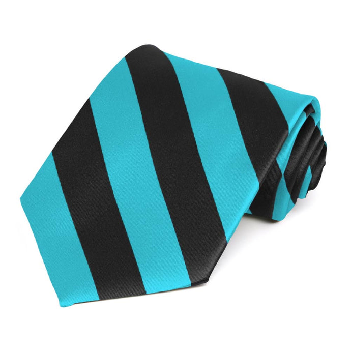 Turquoise and Black Extra Long Striped Tie