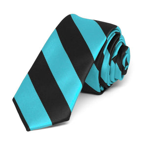 "Turquoise and Black Striped Skinny Tie, 2"" Width"