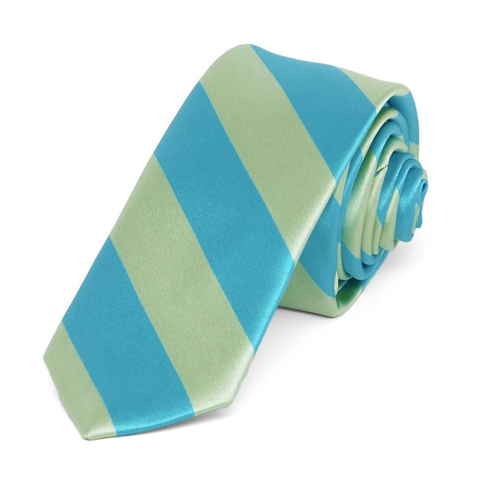 Turquoise and Clover Green Striped Skinny Tie, 2