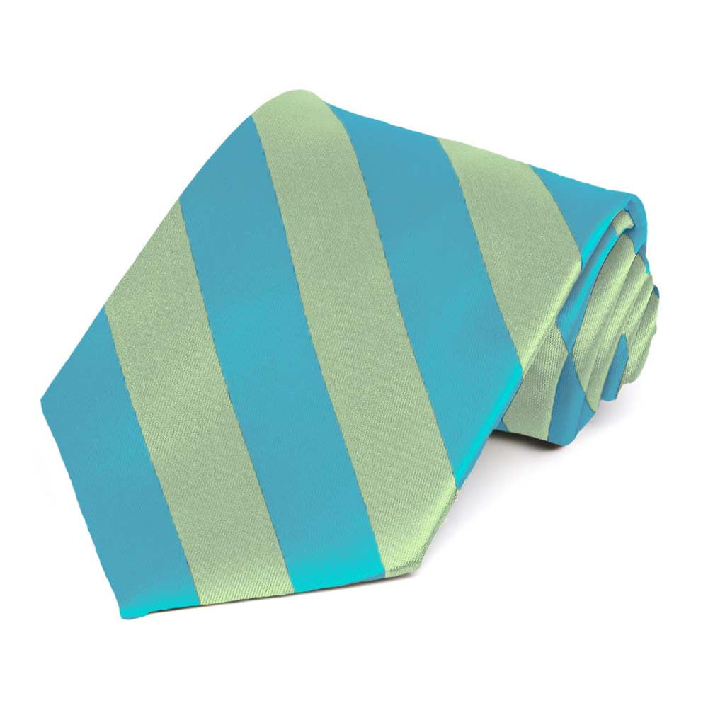 Turquoise and Clover Green Striped Tie