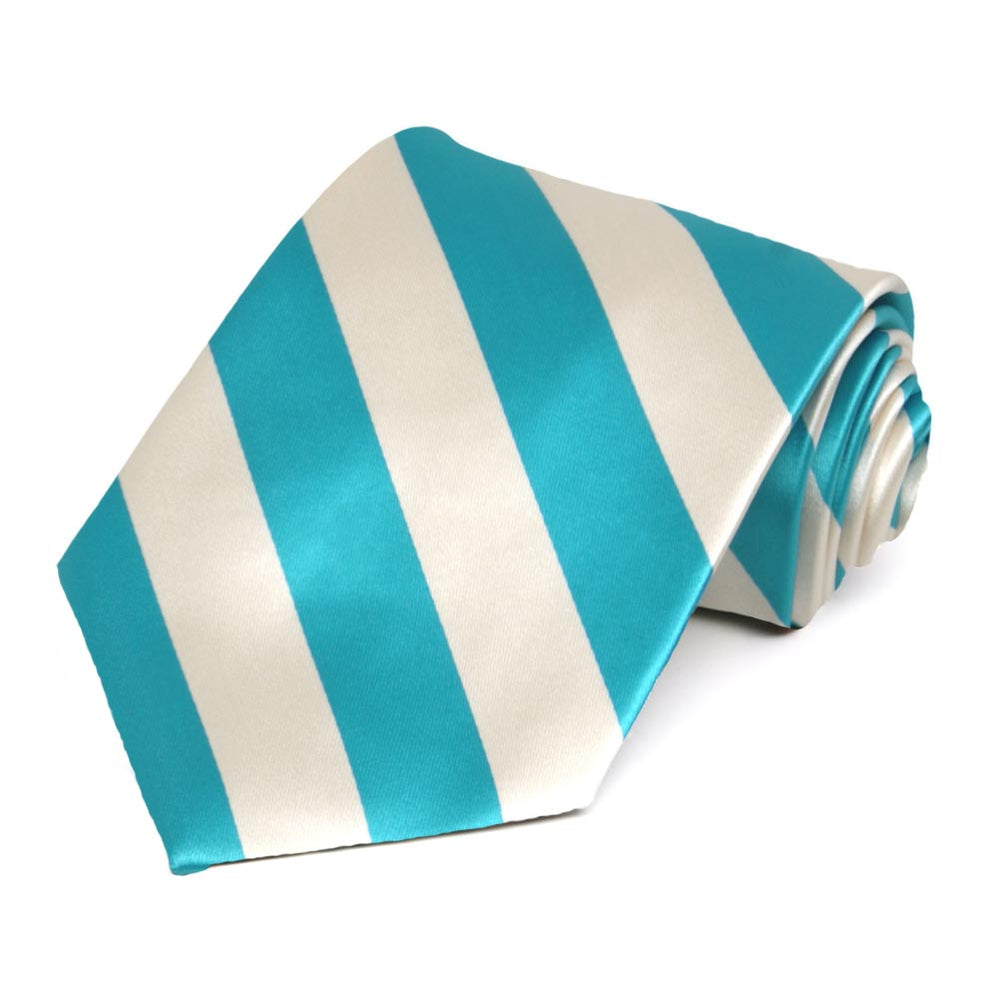 Turquoise and Cream Striped Tie