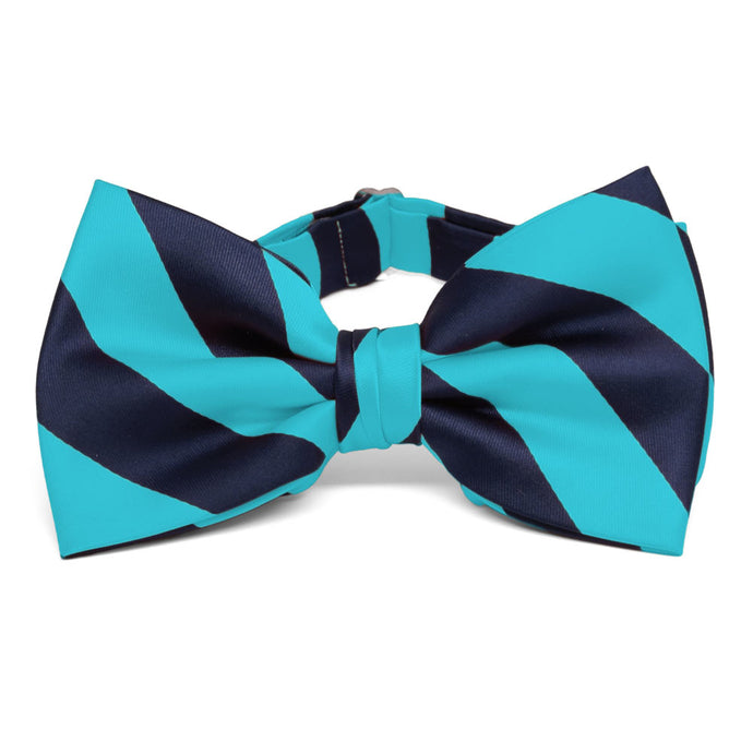 Turquoise and Navy Blue Striped Bow Tie