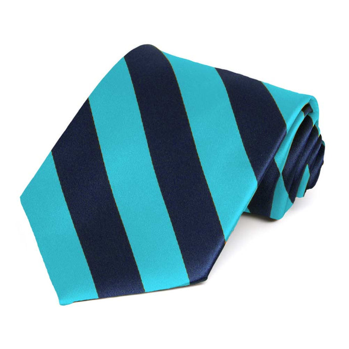 Turquoise and Navy Blue Striped Tie