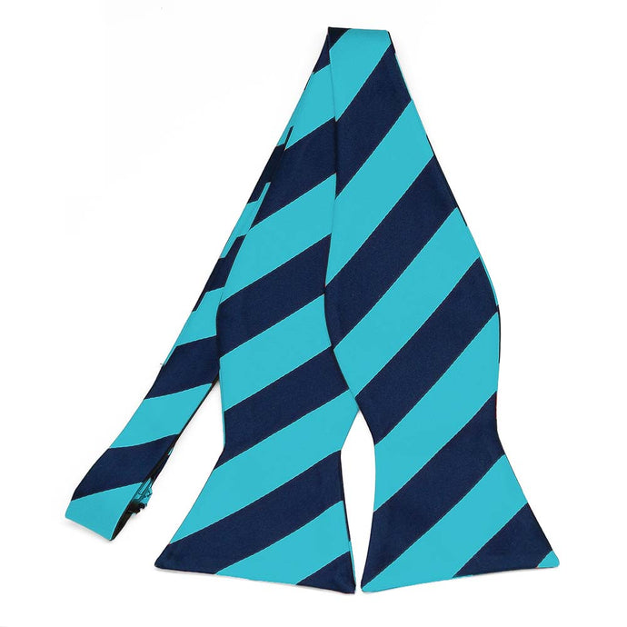 Turquoise and Navy Blue Striped Self-Tie Bow Tie